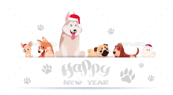 Group of Dogs Sitting on White Background - Animals Characters