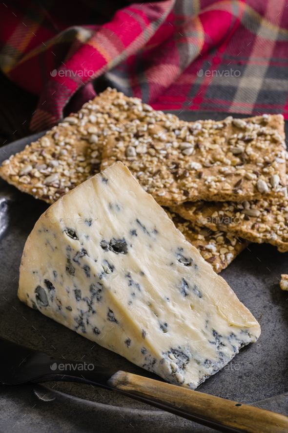 Mature Stilton Cheese and Spelt Crackers - Stock Photo - Images