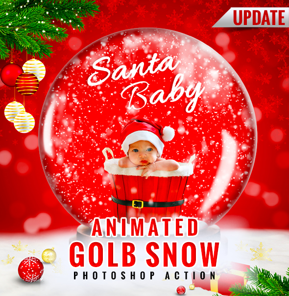Gif Animated Snow Globe Photoshop Action - Photo Effects Actions