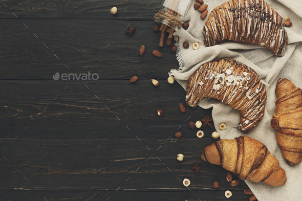 Bakery background with copy space on rustic wood - Stock Photo - Images