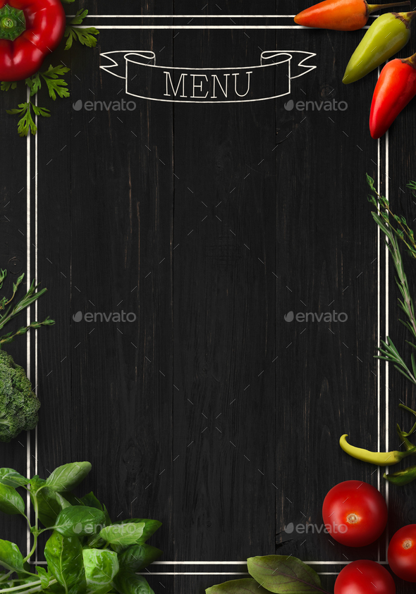 Black board as mockup for restaurant menu - Stock Photo - Images