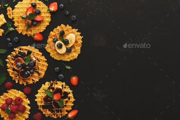 Waffles with fruits, breakfast background - Stock Photo - Images