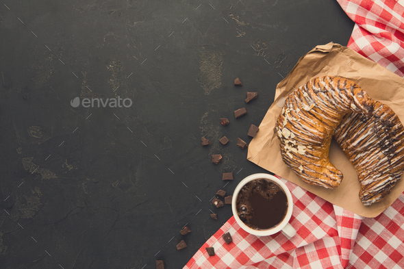Freshly baked croissants and coffee background - Stock Photo - Images