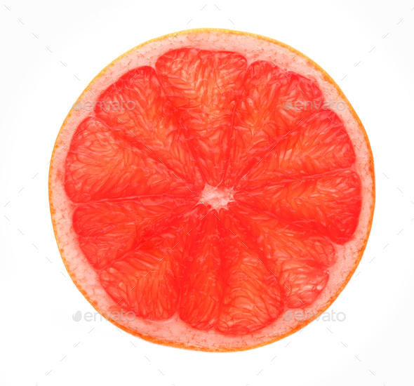 Red grapefruit slice backlit, isolated on white - Stock Photo - Images