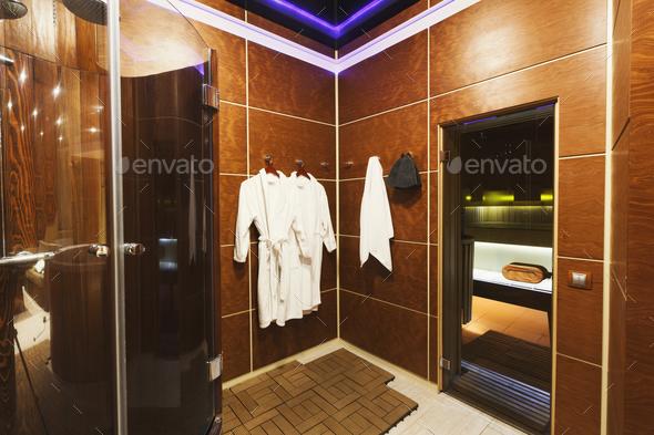 Luxury dressing room in sauna interior - Stock Photo - Images