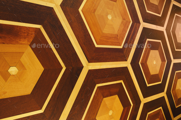 Honeycomb pattern of wooden wall, copy space - Stock Photo - Images