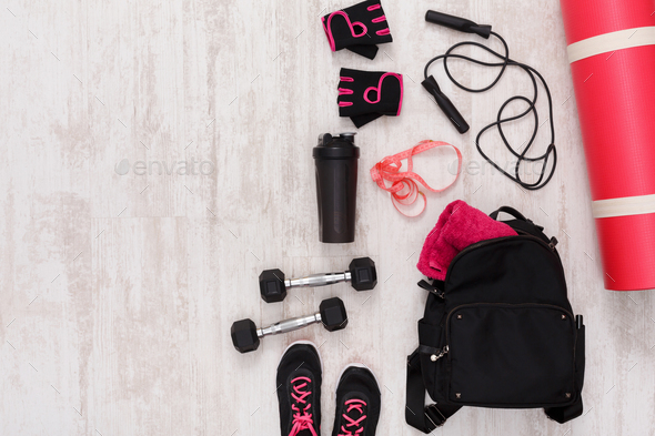 Female sport clothing and equipment top view - Stock Photo - Images