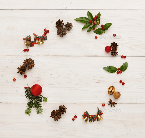 Christmas decoration frame on wooden background - Stock Photo - Images