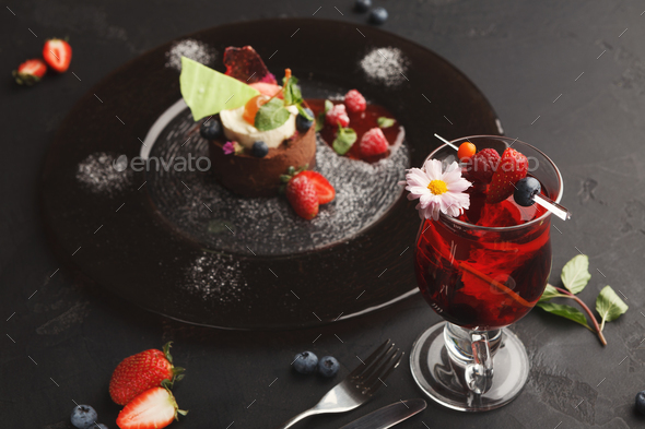 Exclusive mousse dessert served at restaurant - Stock Photo - Images