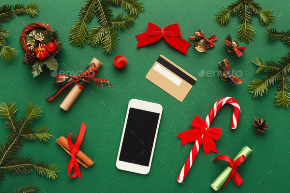 Smartphone, christmas decorations and credit card - Stock Photo - Images