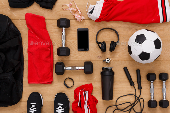 Workout, soccer and sport equipment background - Stock Photo - Images