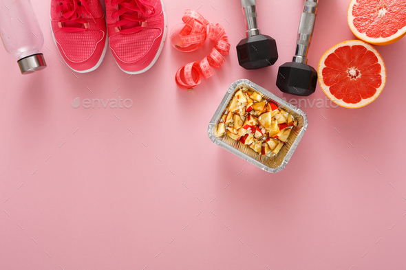 Fitness background, sport equipment, copy space - Stock Photo - Images
