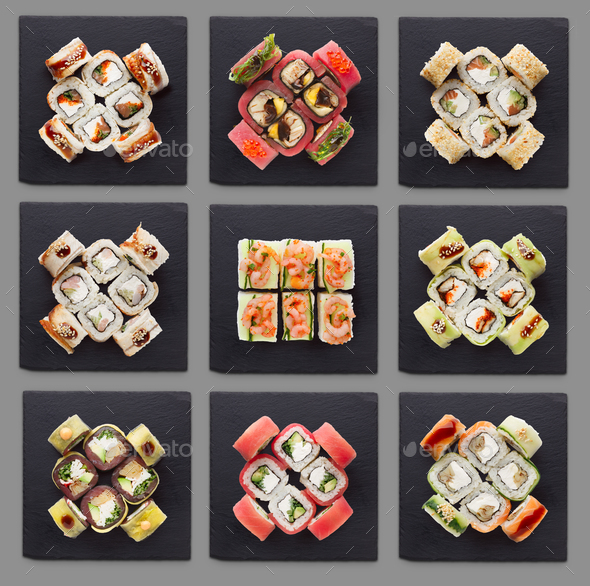 Collage of assorted sushi sets - Stock Photo - Images