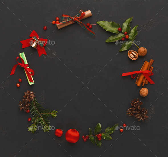 Christmas decoration frame on black background - Stock Photo - Images
