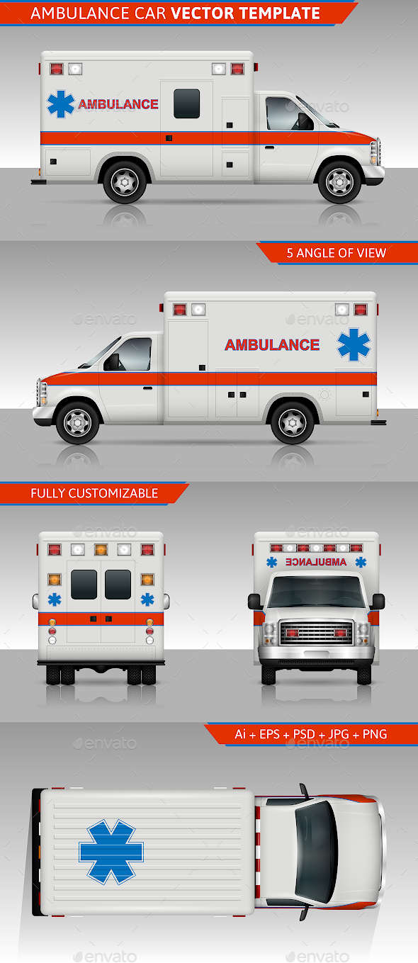 Ambulance Car Vector Template - Man-made Objects Objects