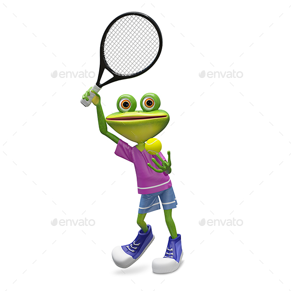 GraphicRiver 3D Illustration Frog with Tennis Racket 21144352
