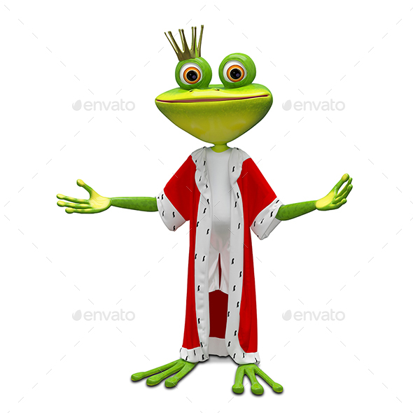 3D Illustration of the Princess Frog in the Mantle - Characters 3D Renders
