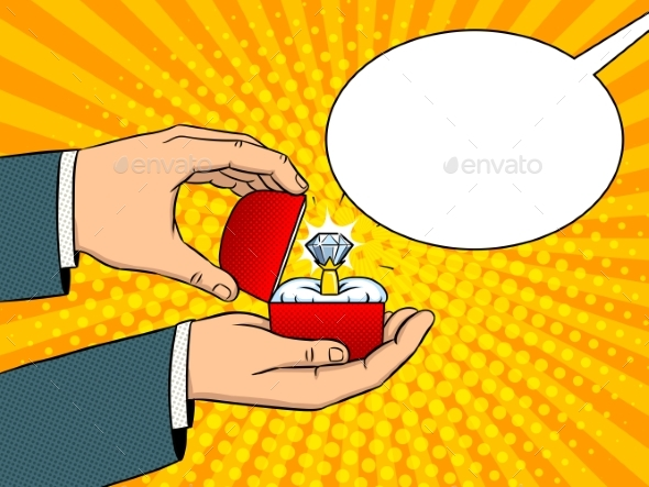 GraphicRiver Hands Precious Ring Pop Art Vector Illustration 21144387