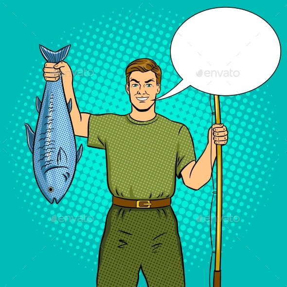 Fisherman with Fishing Rod and Fish Pop Art Vector - Miscellaneous Vectors