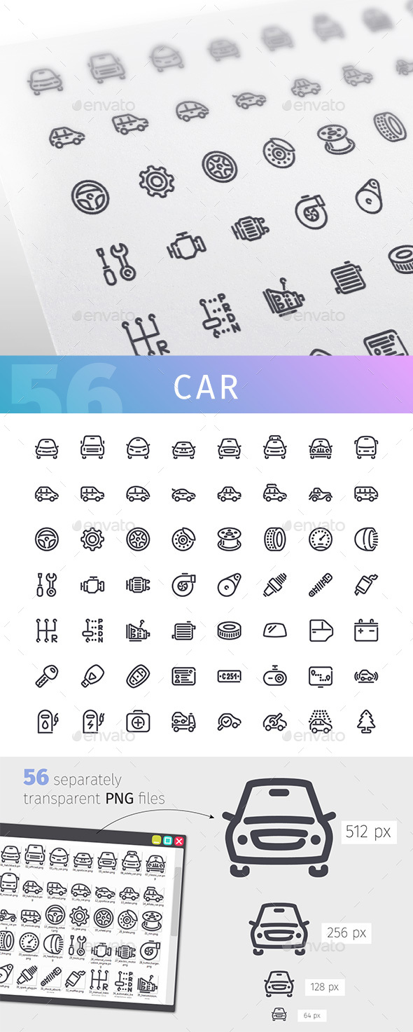 Car Line Icons Set - Technology Icons