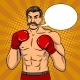 Vintage Boxer Fighter with Mustache Pop Art Vector