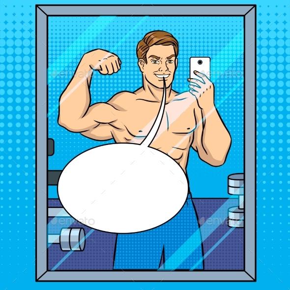 GraphicRiver Body Builder Makes Selfie in the Mirror Pop Art 21144413