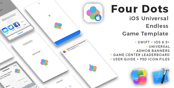 Four Dots | iOS Universal Endless Board Game Template (Swift) - CodeCanyon Item for Sale