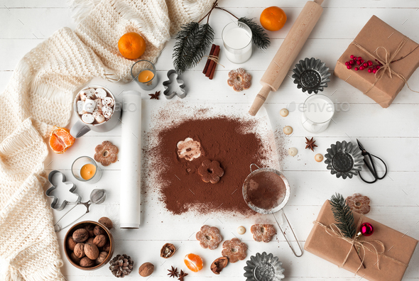 Homemade bakery making, gingerbread cookies in form of Christmas tree close-up. - Stock Photo - Images