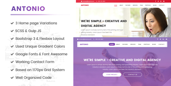 ThemeForest Antonio One Page Multipurpose HTML template built for performance 21144536