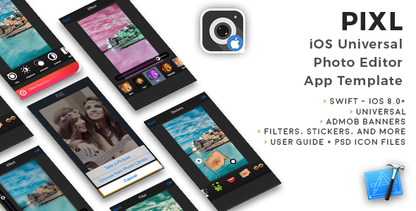 PIXL | iOS Universal Photo Editor App Template (Obj-C) - CodeCanyon Item for Sale