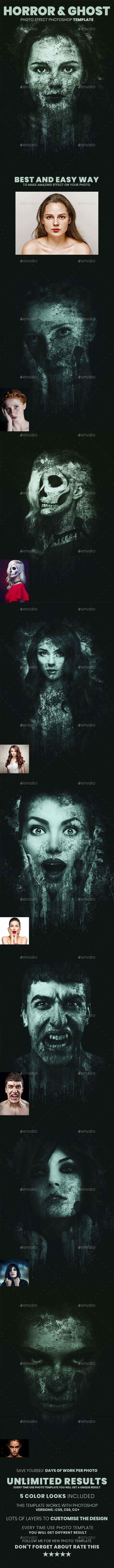 Horror & Ghost Photo Effect Photoshop Template - Artistic Photo Templates