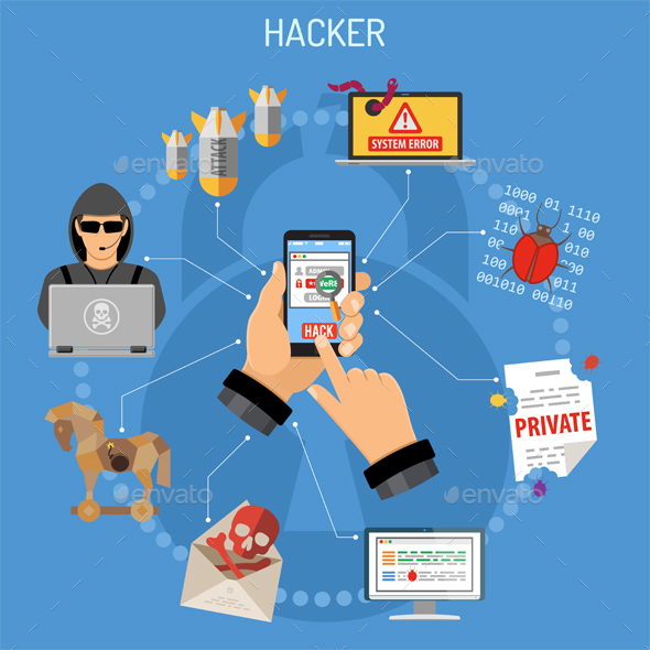 GraphicRiver Cyber Crime Concept with Hacker 21144609