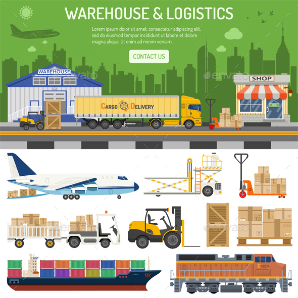 GraphicRiver Warehouse and Logistics Banner 21144613