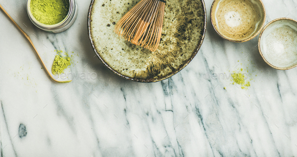 Japanese tools and bowls for brewing matcha green tea - Stock Photo - Images