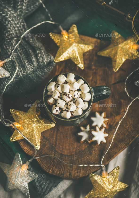 Christmas winter hot chocolate with marshmellows over wooden board - Stock Photo - Images