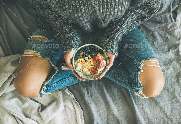 Healthy vegetarian dieting winter breakfast in bed concept - Stock Photo - Images