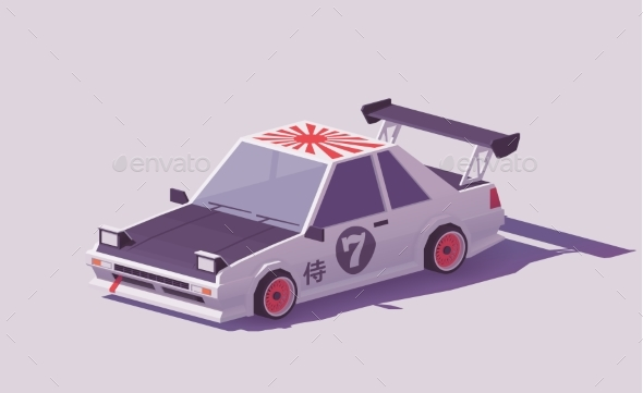 GraphicRiver Vector Low Poly Classic Drift Car 21144664