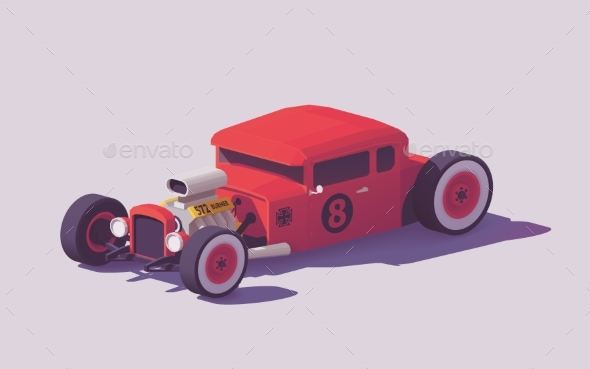 GraphicRiver Vector Low Poly Classic Hot Rod Car 21144665