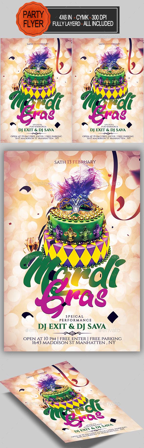GraphicRiver Carnival Mardi Gras Flyer 21144667