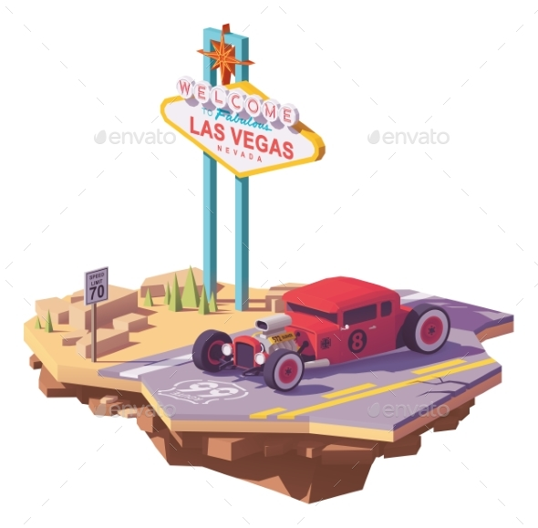 Vector Low Poly Classic Hot Rod Car - Man-made Objects Objects