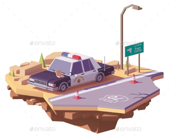 Vector Low Poly Classic American Police Car - Man-made Objects Objects
