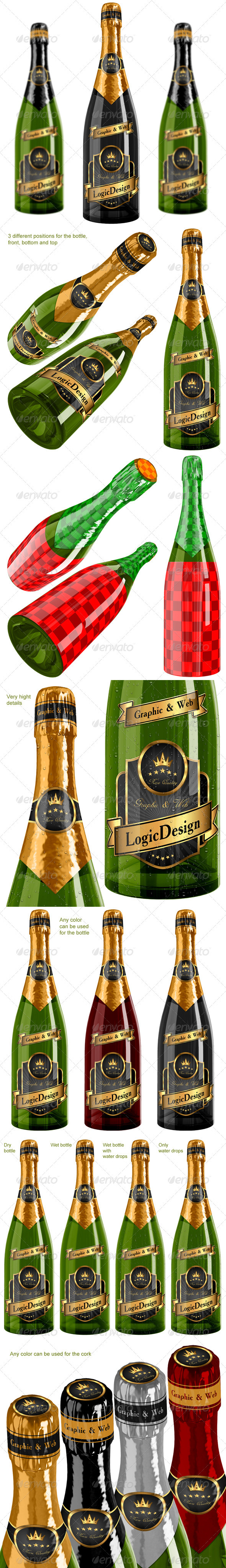 Bottle Champagne Mock Up - Food and Drink Packaging