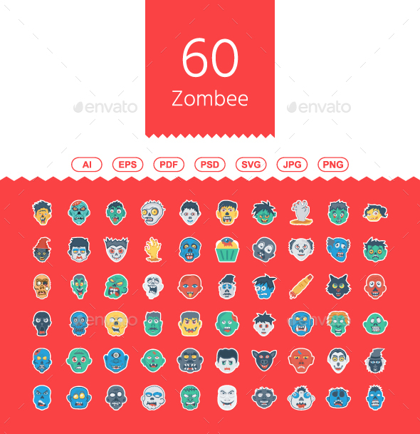 60 Halloween Zombee Flat Sticker - Web Icons