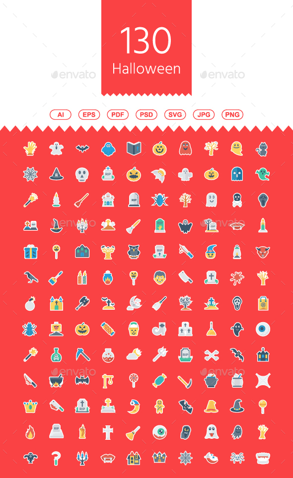 GraphicRiver 130 Halloween Flat Paper icons 21144898