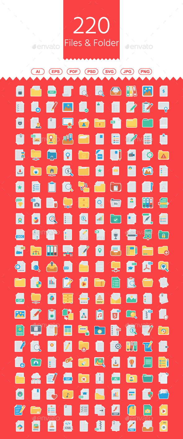 GraphicRiver 220 Files & Folders Flat Paper icons 21144912