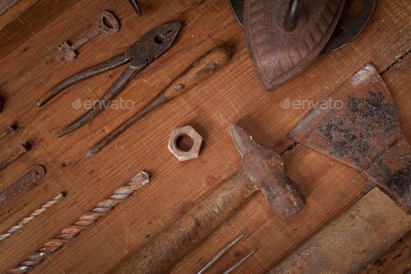 Collection of vintage tools on wooden background - Stock Photo - Images