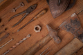 Collection of vintage tools on wooden background - PhotoDune Item for Sale