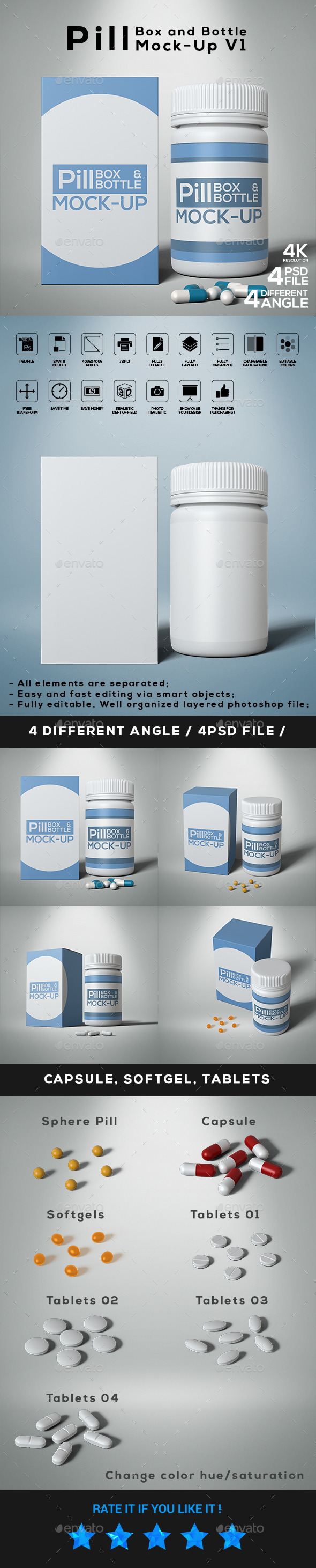 GraphicRiver Pill Box and Bottle Mock-Up V1 21144965