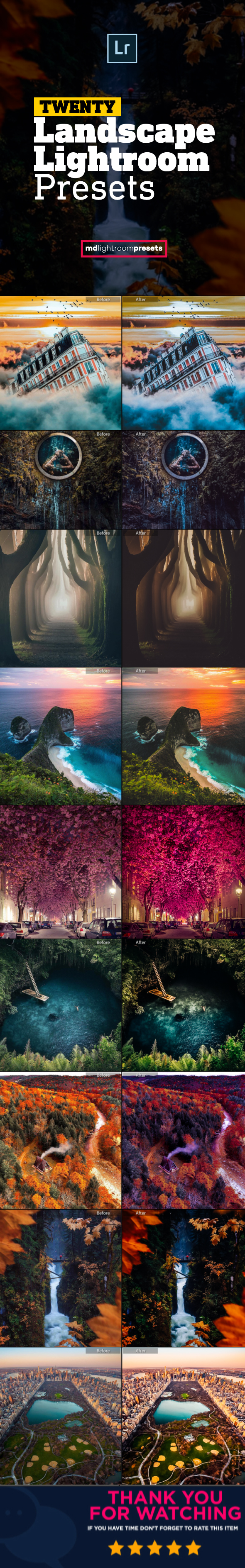 GraphicRiver 20 Pro Landscape Outdoor Photography Lightroom Presets 21145082