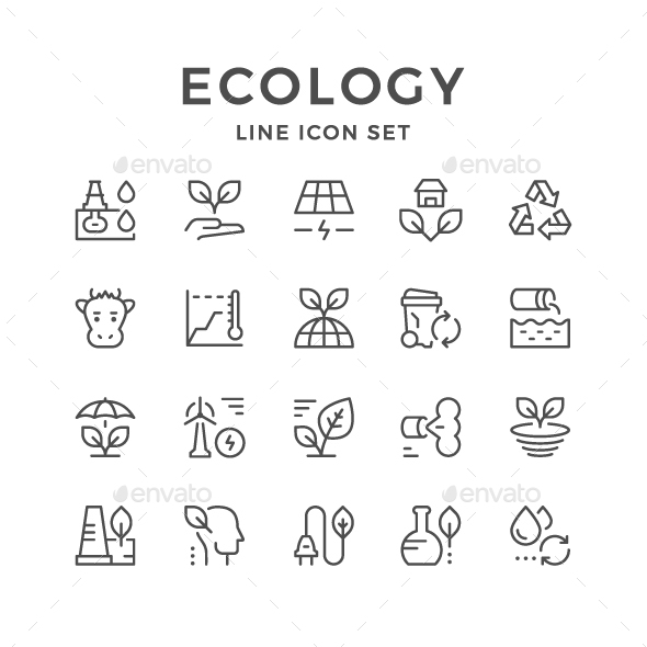 Set Line Icons of Ecology - Man-made objects Objects